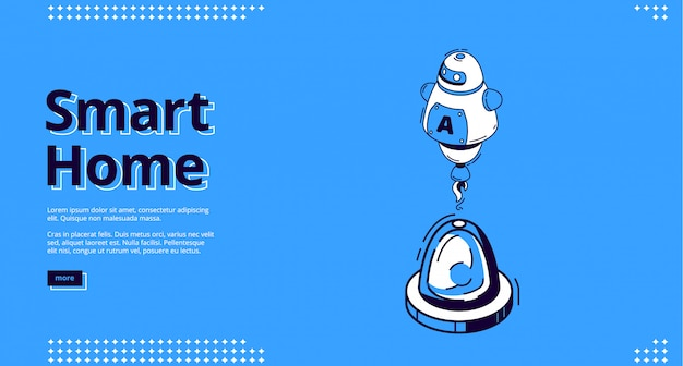 Landing page of smart home with robot icon Free Vector