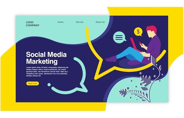 Дизайн шаблона социальной сети на целевой странице Premium векторы