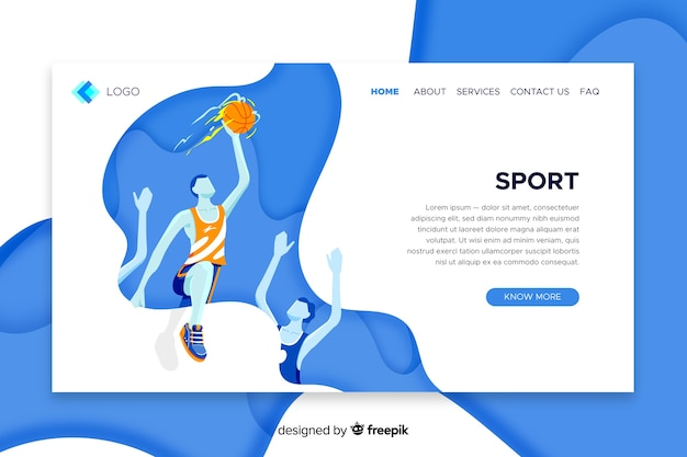 Landing page sport template Free Vector