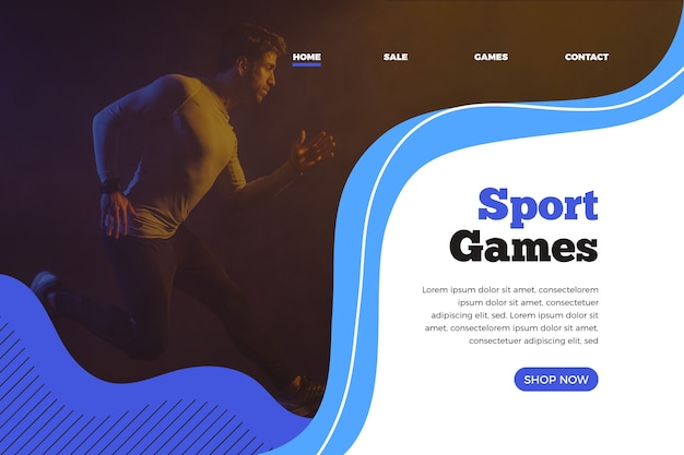 Landing page sport with image Free Vector