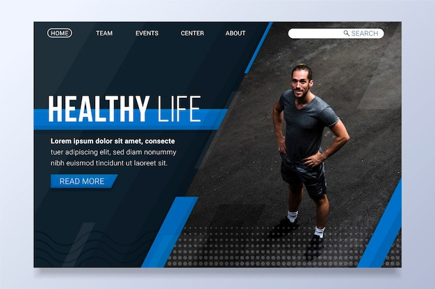 Landing page sport with photo Free Vector