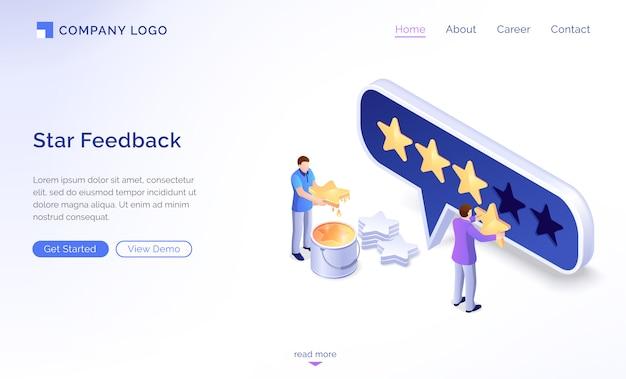 Landing page of star feedback model Free Vector