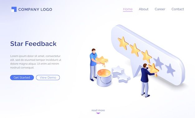Landing page of star feedback model Free Vector