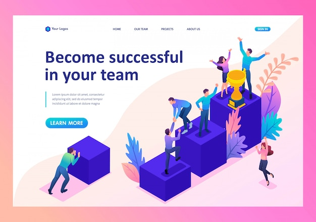 Landing page of successful young team, upward movement Premium Vector
