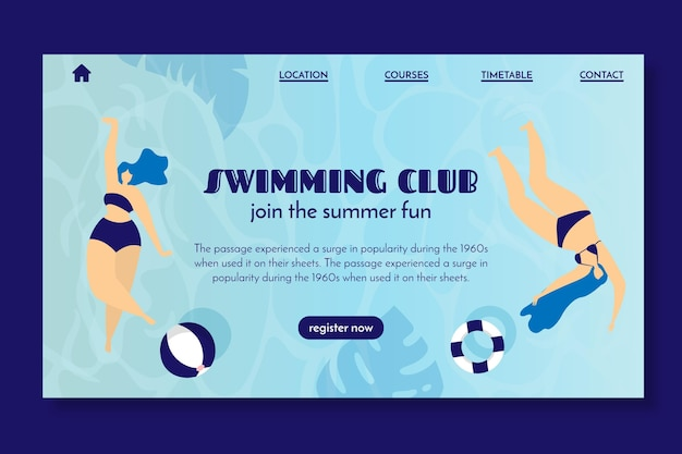 Landing page for swimming club Free Vector