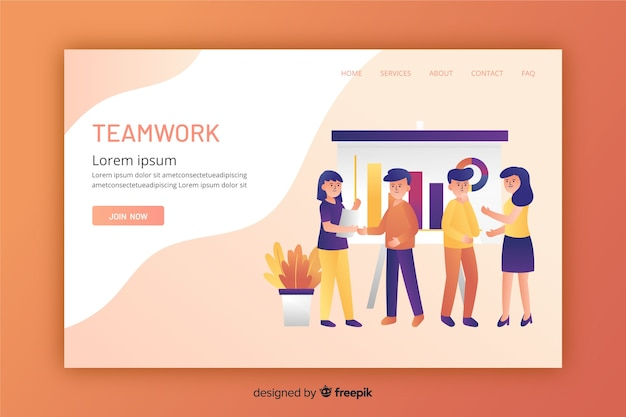Landing page for teamwork in flat design Free Vector