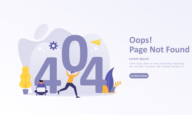 Landing page template of 404 error with character Premium Vector
