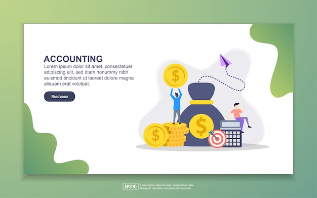 Landing page template of accounting Premium Vector