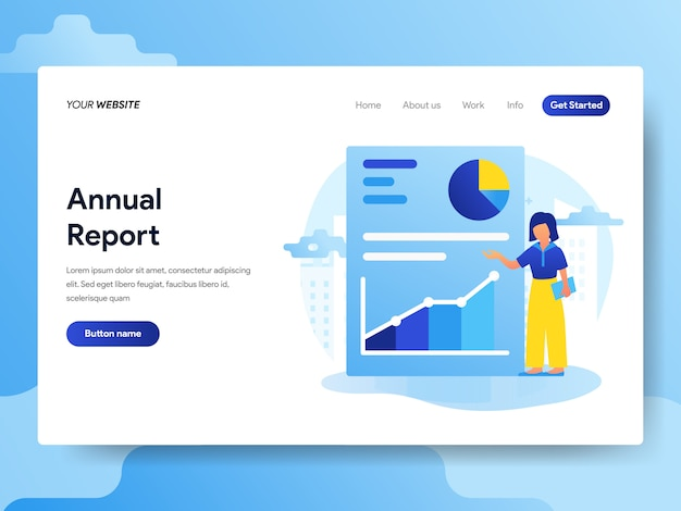 Landing page template of annual report Premium Vector