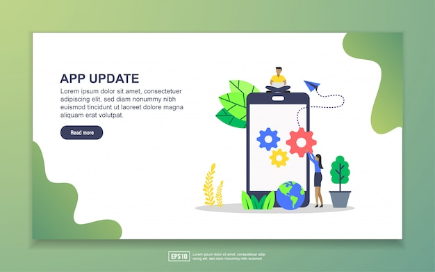 Landing page template of app update. modern flat design concept of web page design for website and mobile website Premium Vector