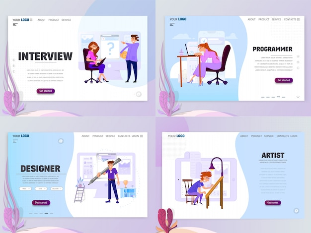 Landing page template for artist designer or home page interview, isolated objects Premium Vector