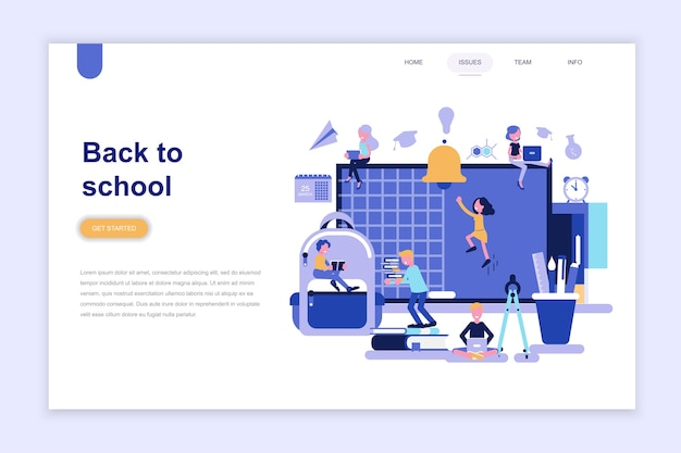 Landing page template of back to school Premium Vector