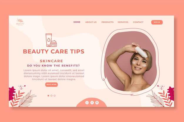 Landing page template for beauty salon Free Vector