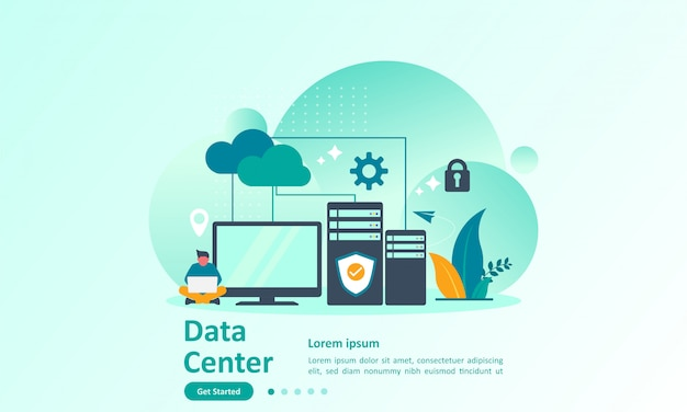 Landing page template of big data with cloud database Premium Vector