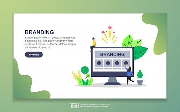 Landing page template of branding. modern flat design concept of web page design for website and mobile website Premium Vector