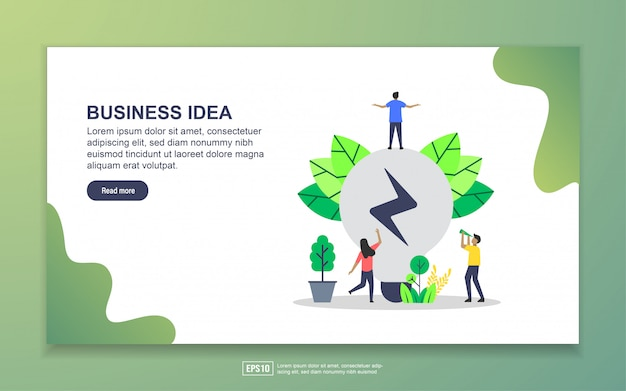 Landing page template of business idea. modern flat design concept of web page design for website and mobile website Premium Vector