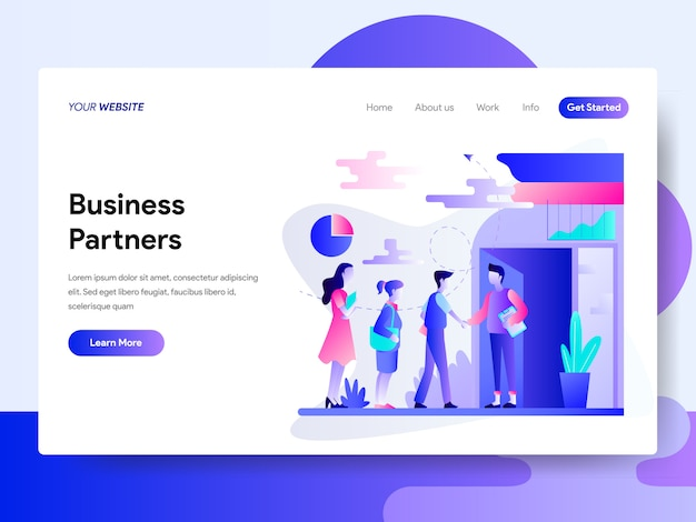 Landing page template of business partners concept Premium Vector