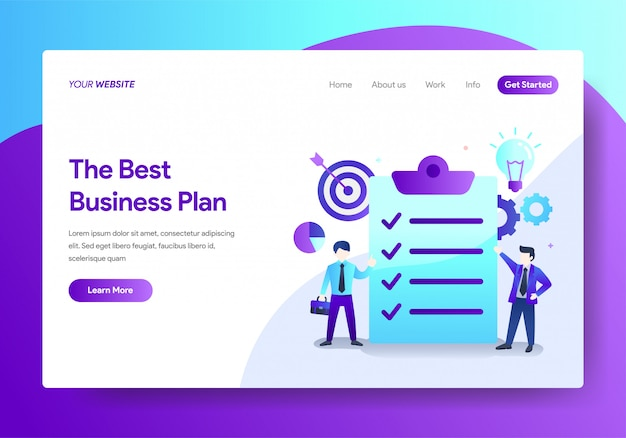 Landing page template of business plan design Premium Vector