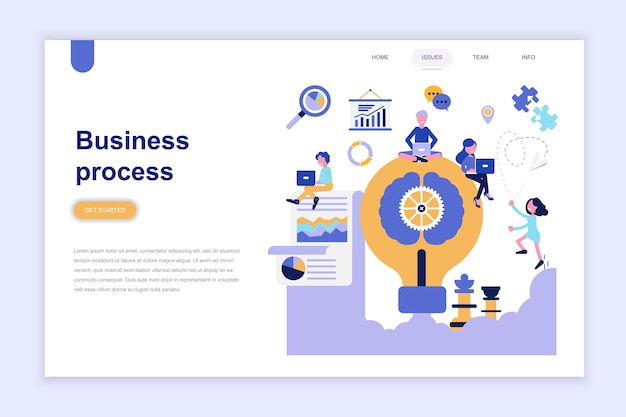 Landing page template of business process Premium Vector