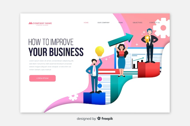 Landing page template for business Free Vector