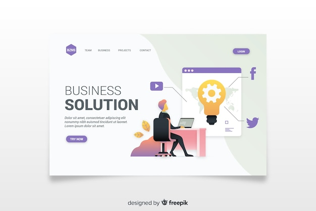 Landing page template of business Free Vector