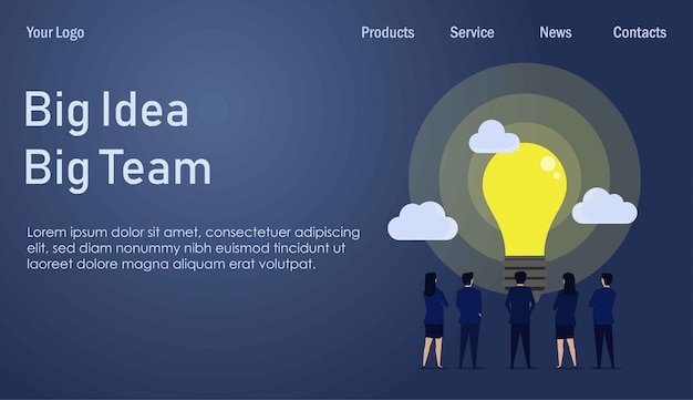 Landing page template. businessman and businesswoman team see the big idea in front of them. Premium Vector
