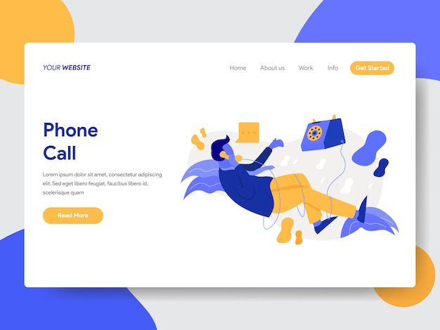 Landing page template of businessman on phone call illustration Premium Vector