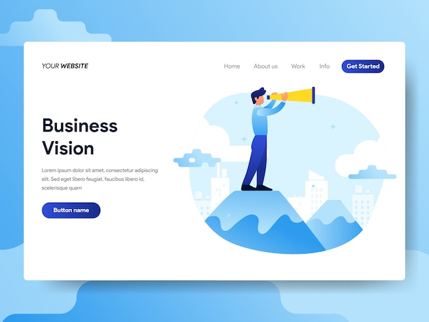 Landing page template of businessman with vision Premium Vector