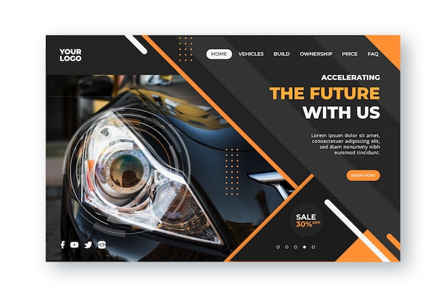 Landing page template car shopping Free Vector