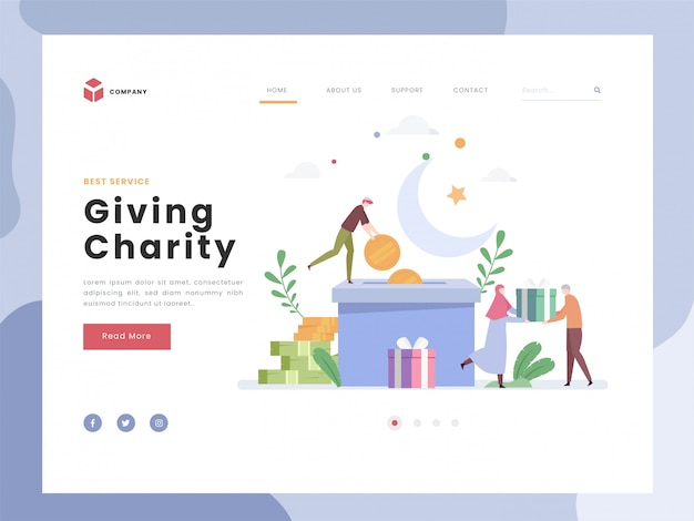 Landing page template, charity, flat tiny persons giving gifts to the poor. symbolic philantrophy of humanity and hopes. giving support contribution. flat style. Premium Vector