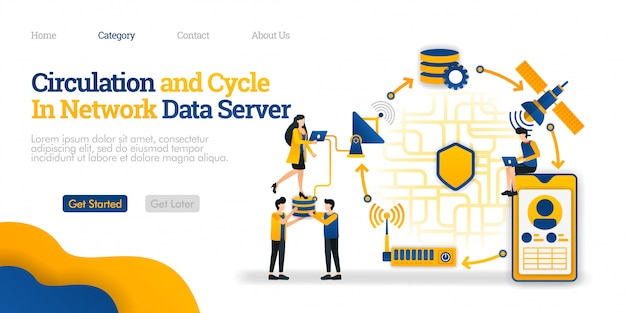Landing page template. circulation and cycle in data server. overview of network communication data from a phone Premium Vector