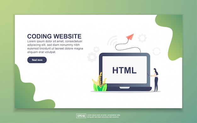 Landing page template of coding website. modern flat design concept of web page design for website and mobile website. Premium Vector