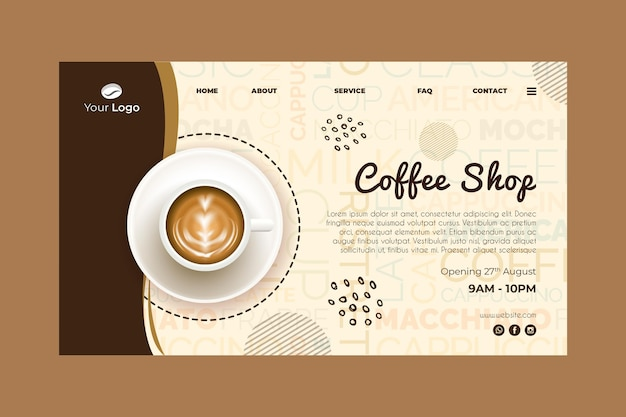 Landing page template for coffee shop Free Vector