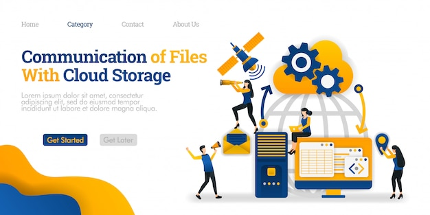 Landing page template. communication of file with cloud storage between personal device, storage and satellite Premium Vector