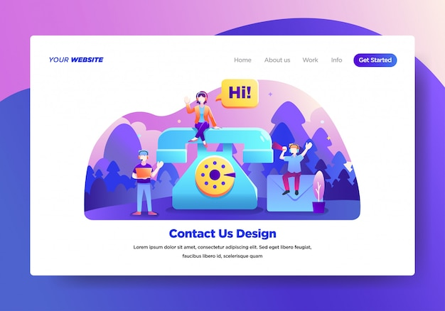 Landing page template of contact us Premium Vector