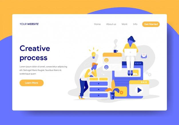 Landing page template of creative process illustration Premium Vector