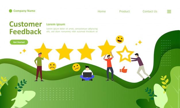 Landing page template of customer feedback vector illustration Premium Vector
