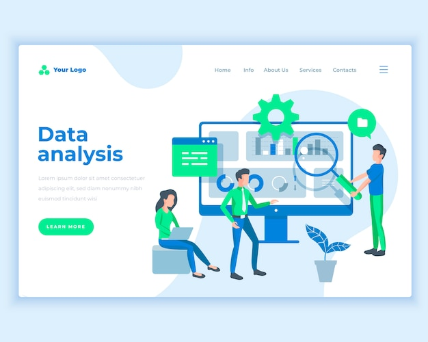 Landing page template data analysis concept with office people. Premium Vector