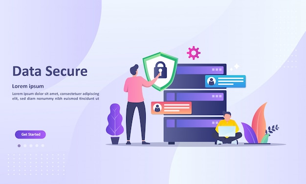 Landing page template of data secure with cloud database Premium Vector