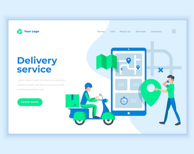 Landing page template delivery service concept with people. Premium Vector