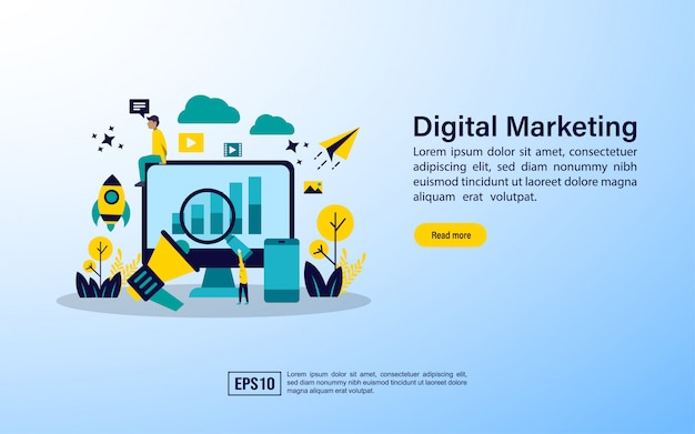 Landing page template.digital marketing agency, digital media campaign Premium Vector