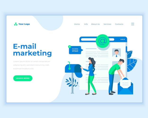 Landing page template e-mail marketing concept with office people. Premium Vector