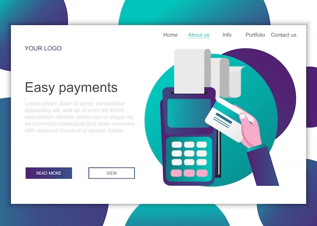 Landing page template of easy payments Premium Vector