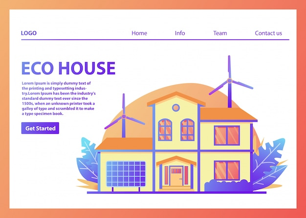 Landing page template for eco houses Premium Vector