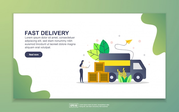 Landing page template of fast delivery Premium Vector