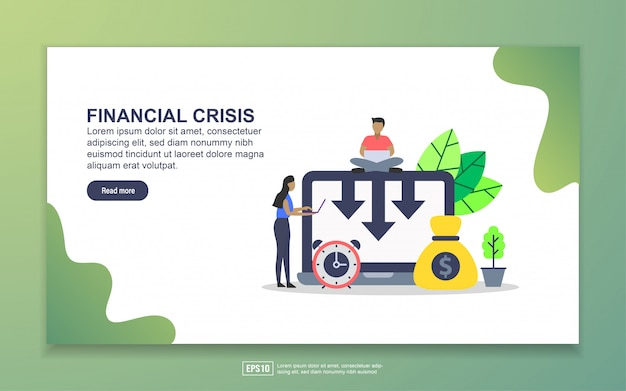 Landing page template of financial crisis Premium Vector