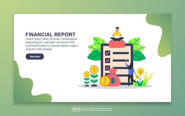 Landing page template of financial report Premium Vector