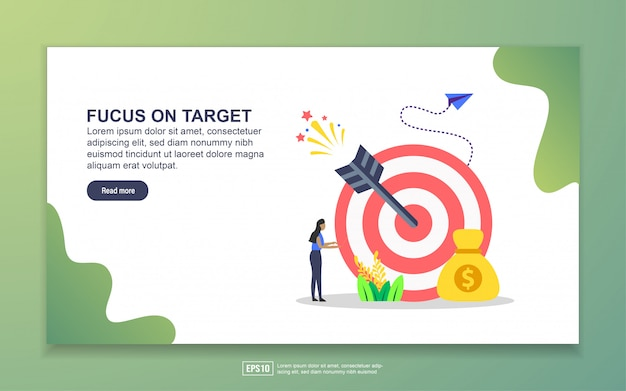 Landing page template of focus on target. modern flat design concept of web page design for website and mobile website Premium Vector