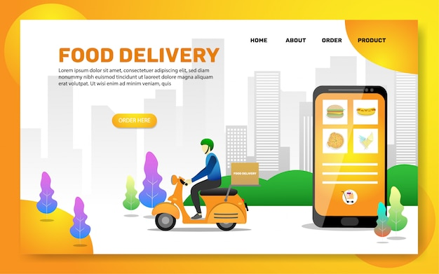 Landing page template. food delivery web page Premium Vector