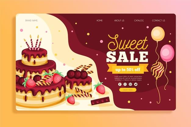 Шаблон целевой страницы для празднования дня рождения Premium векторы